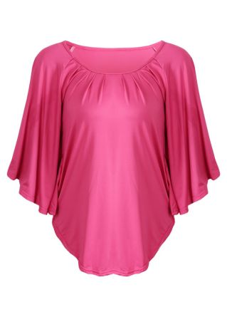 Solid O-Neck Batwing Sleeve Blouse
