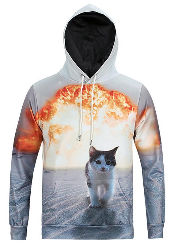 New Bomb Cat Printed Casual Hoodie, Hoodies & Sweatshirts