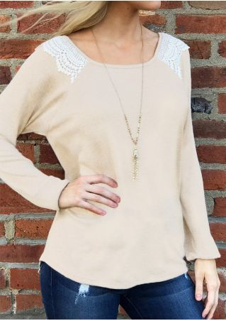 Lace Splicing Backless O-Neck Blouse without Necklace