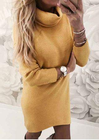 Solid Long Sleeve Mini Dress