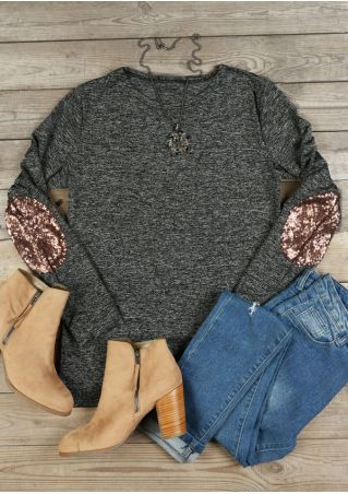 Sequined Elbow Patch O-Neck T-Shirt