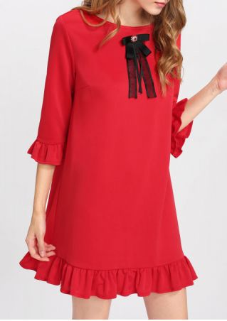 Bowknot Ruffled O-Neck Mini Dress