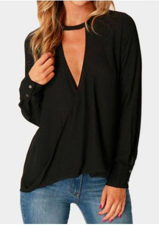Solid Button Deep V-Neck Blouse