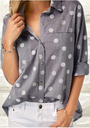 Polka Dot Button Pocket Shirt