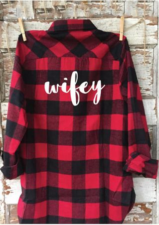 Wifey Plaid Turn Down Collar Shirt
