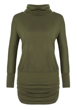Solid Ruched Long Sleeve Blouse