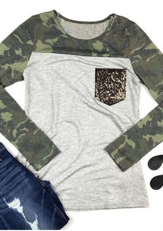 Camouflage Printed Sequined Pocket T-Shirt