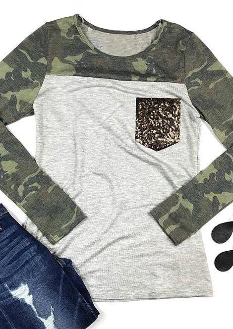 Camouflage printed sequined pocket t shirt fairyseason for Pocket t shirt printing