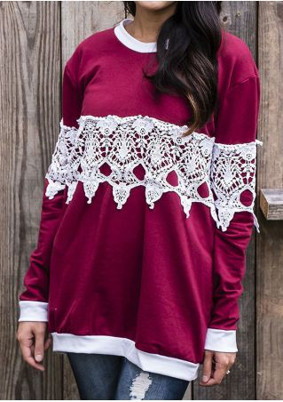 Lace Splicing O-Neck Long Sleeve Blouse