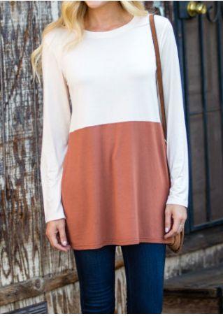 Color Block O-Neck Long Sleeve T-Shirt