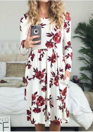 Floral O-Neck Pocket Casual Dress