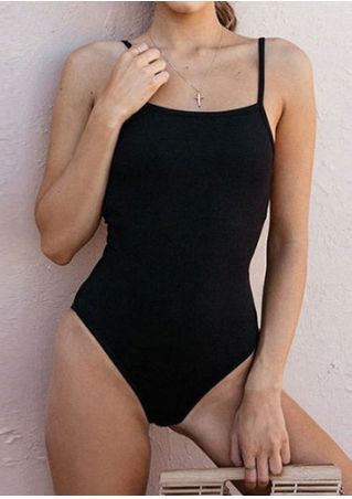 Solid Spaghetti Strap Bodysuit without Necklace
