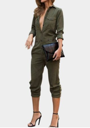 Solid Pocket Button Long Sleeve Jumpsuit