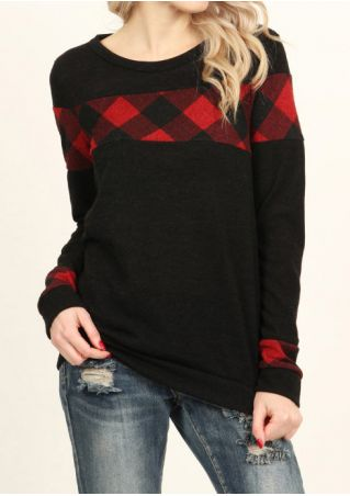 Plaid O-Neck Long Sleeve T-Shirt