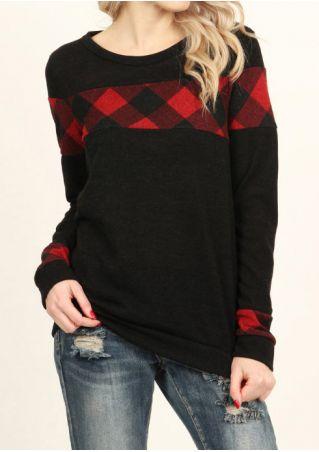 Plaid O-Neck Long Sleeve T-Shirt