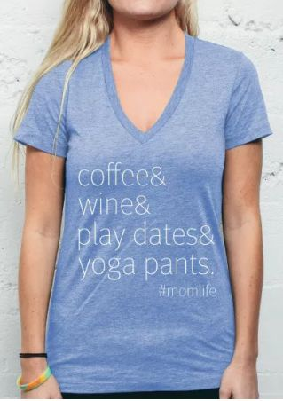 Coffee Wine Play Dates Yoga Pants T-Shirt