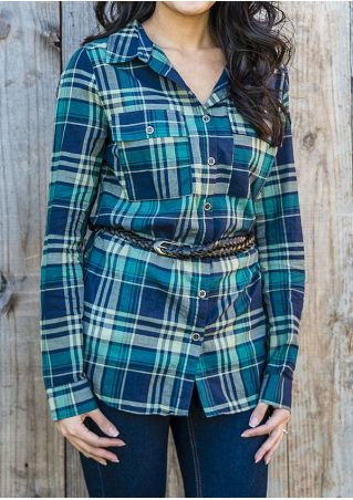 Plaid Pocket Turn-Down Collar Shirt without Belt