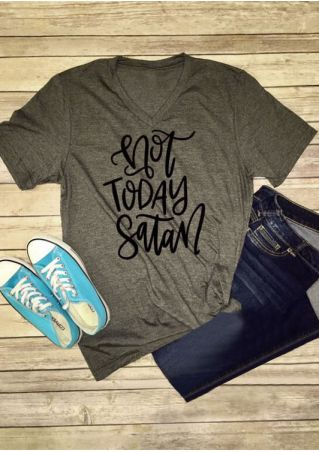 Not Today Satan V-Neck T-Shirt