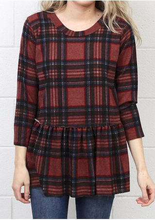 Plaid Ruffled Three Quarter Sleeve Blouse