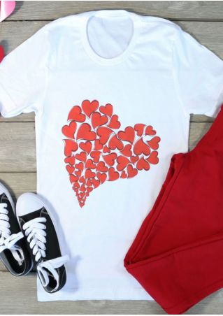 Heart Short Sleeve O-Neck T-Shirt