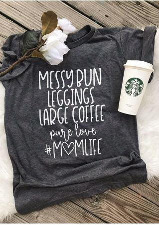 Messy Bun Leggings Large Coffee T-Shirt