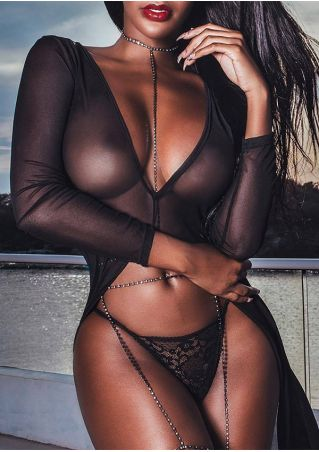 Solid Mesh Lace Splicing Lingerie Set without Chain