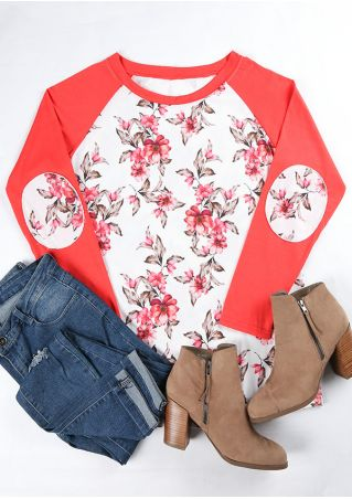 Plus Size Floral Elbow Patch Baseball T-Shirt