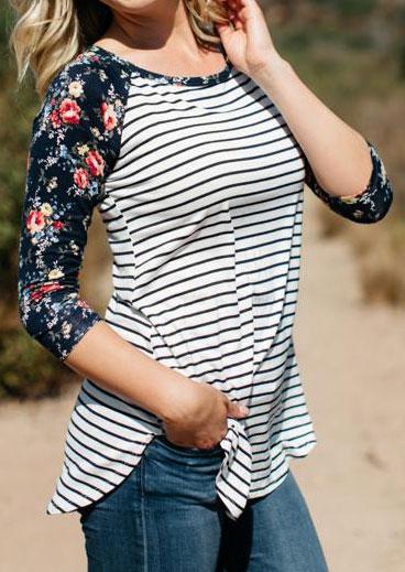 striped floral three quarter sleeve baseball t-shirt