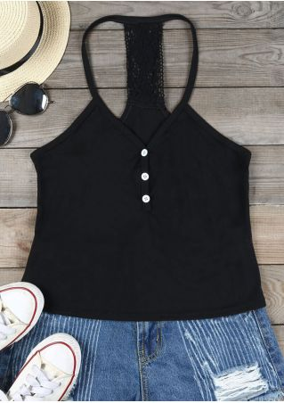 Solid Lace Splicing Button Camisole