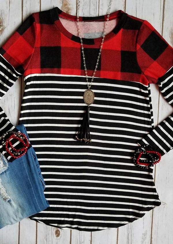 Plaid Striped Splicing O-Neck T-Shirt фото