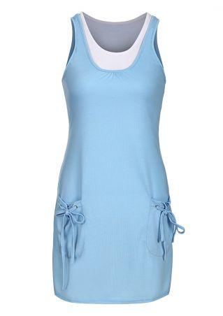 Color Block Tie Pocket Mini Dress