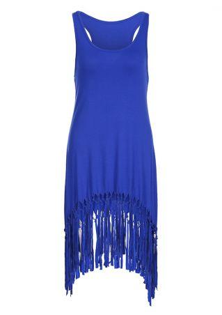 Solid Tassel Splicing Casual Dress