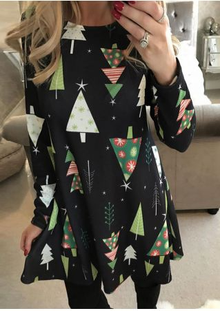 Christmas Tree Printed Long Sleeve Dress