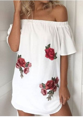 Applique Off Shoulder Mini Dress without Necklace