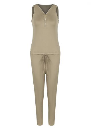 Solid Pocket Drawstring Zipper Jumpsuit