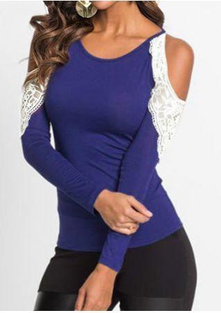 Lace Splicing Cold Shoulder Blouse
