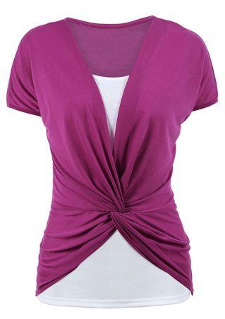 Color Block Twist Short Sleeve Blouse