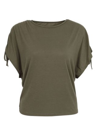 Solid Tie Batwing Sleeve Blouse