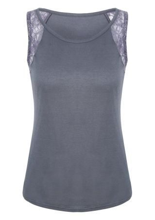 Lace Floral Splicing O-Neck Tank