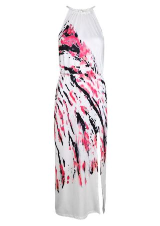 Printed Slit Tie Maxi Dress