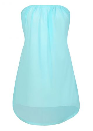 Solid Cross Backless Strapless Mini Dress