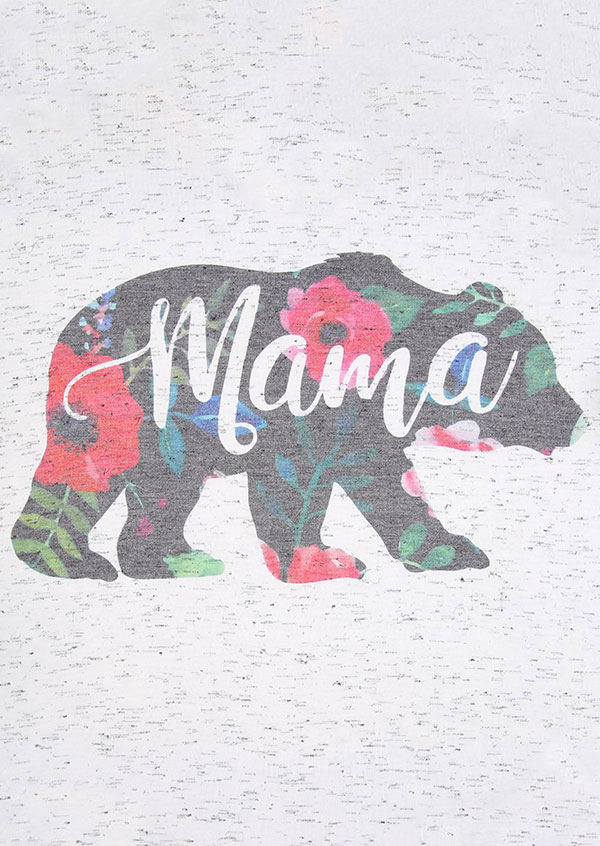 Mama Bear Floral V Neck T Shirt Fairyseason
