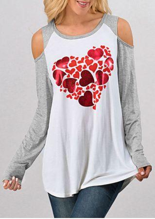 Heart O-Neck Cold Shoulder Blouse