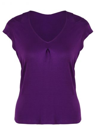 Solid Hollow Out V-Neck Blouse