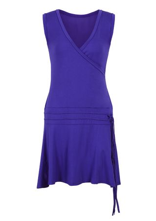 Solid V-Neck Mini Dress without Necklace