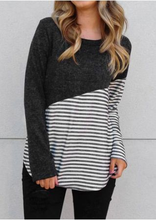 Striped Splicing Long Sleeve T-Shirt