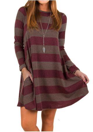 Striped Pocket O-Neck Mini Dress without Necklace