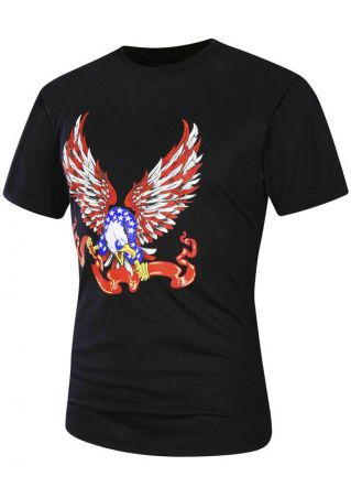Eagle Printed O-Neck Short Sleeve T-Shirt
