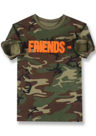 Friends Camouflage Printed O-Neck T-Shirt