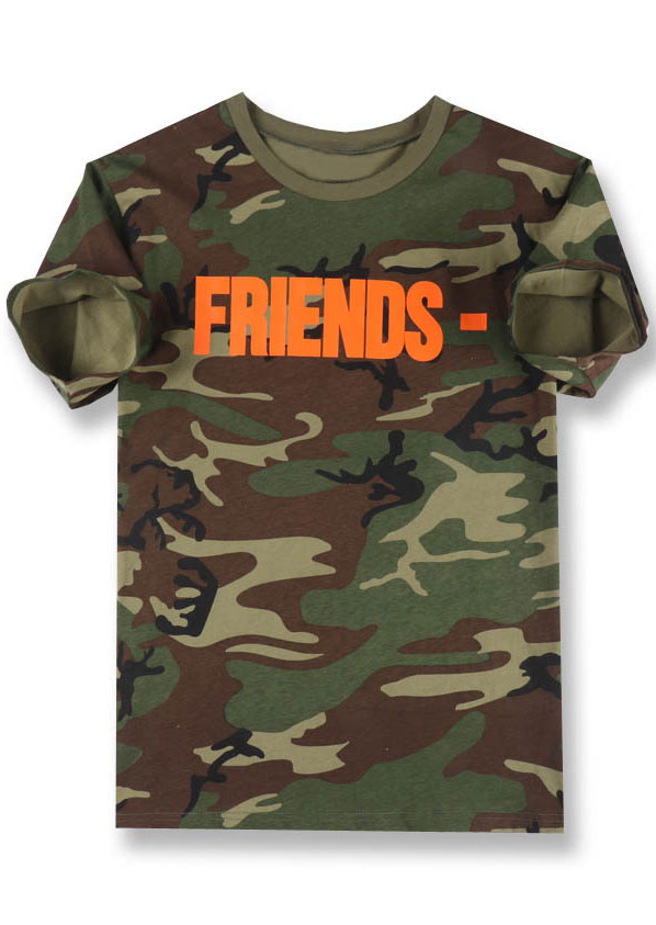 New Friends Camouflage Printed O-Neck T-Shirt, Tops, T-Shirts